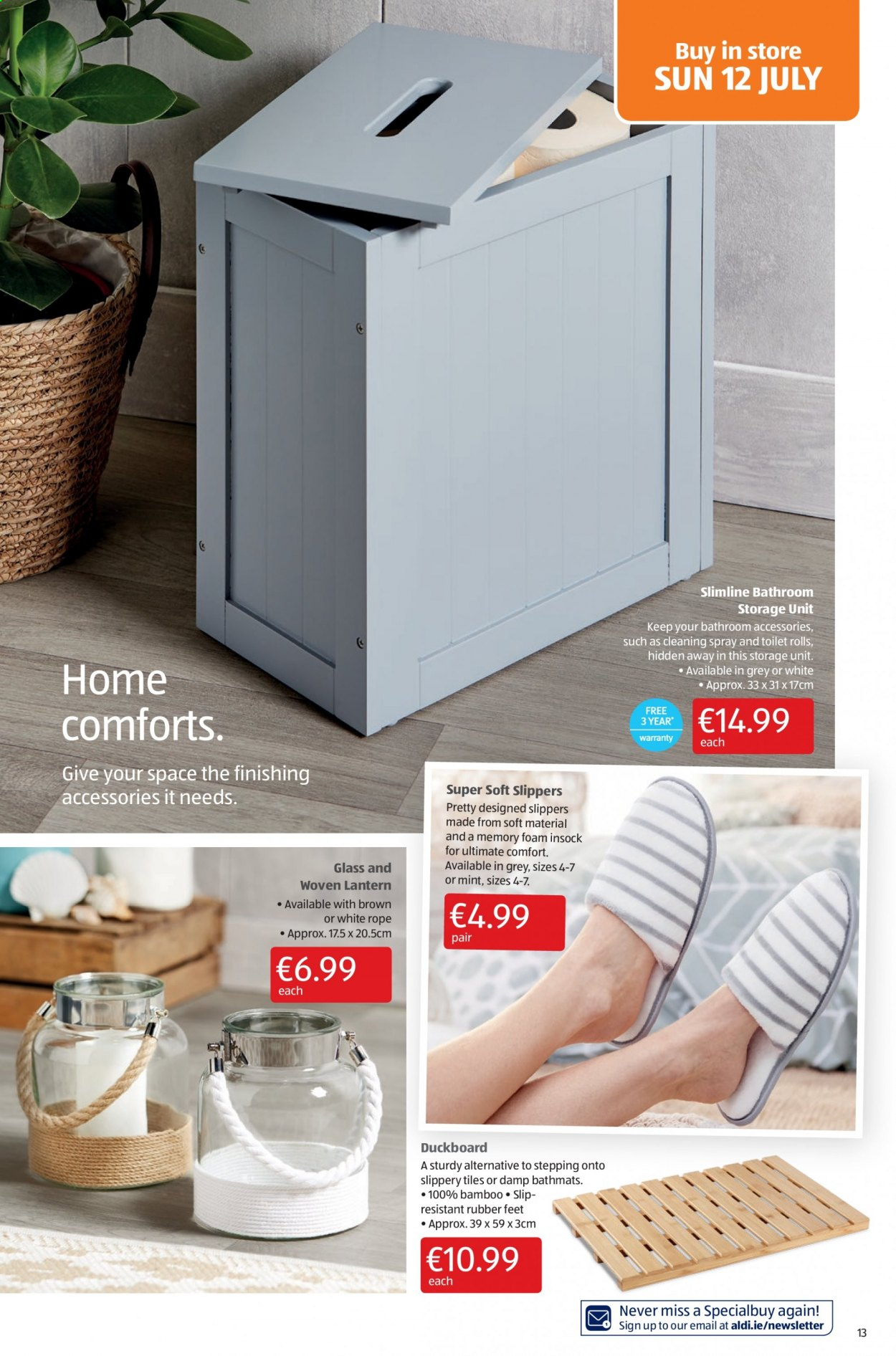 Aldi offer  - 9.7.2020 - 12.7.2020 - Sales products - accessories, bamboo, bathroom, foam, glass, memory foam, mint, slippers, spray, storage, toilet, lantern. Page 13.
