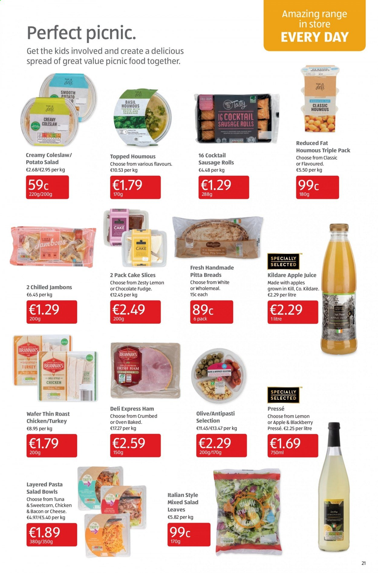 Aldi offer  - 9.7.2020 - 12.7.2020 - Sales products - apple juice, bacon, bowl, coleslaw, fudge, sausage, tuna, turkey, ham, chicken, oven, cheese, juice, cake, pasta, salad, sweetcorn. Page 21.