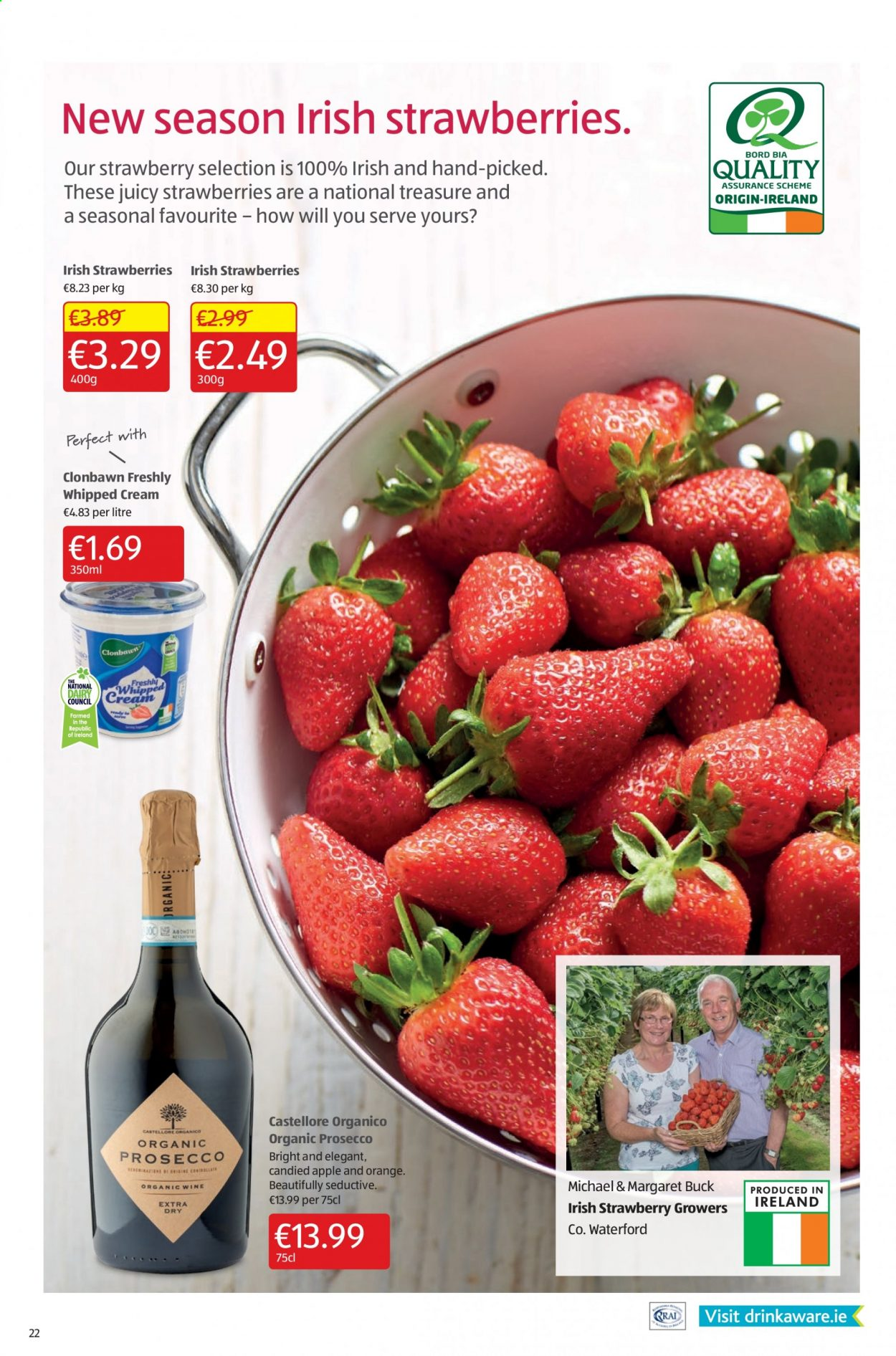 Aldi offer  - 9.7.2020 - 12.7.2020 - Sales products - apple, buck, strawberries, whipped cream, prosecco, organic, wine, strawberry, treasure. Page 22.