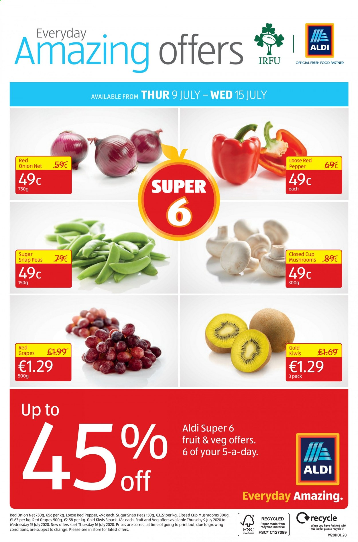 Aldi offer  - 9.7.2020 - 12.7.2020 - Sales products - grapes, Mushrooms, snap peas, sugar, peas, onion, paper, pepper. Page 24.