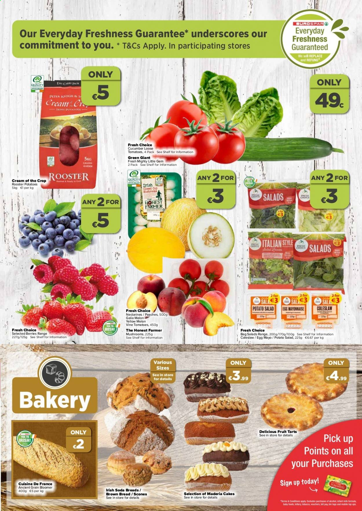 EUROSPAR offer  - 9.7.2020 - 29.7.2020 - Sales products - bag, bin, bread, cucumbers, cup, coleslaw, mayonnaise, milk, mushrooms, nectarines, shelf, tomatoes, potatoes, peaches, soda, melon, crop, salad. Page 3.
