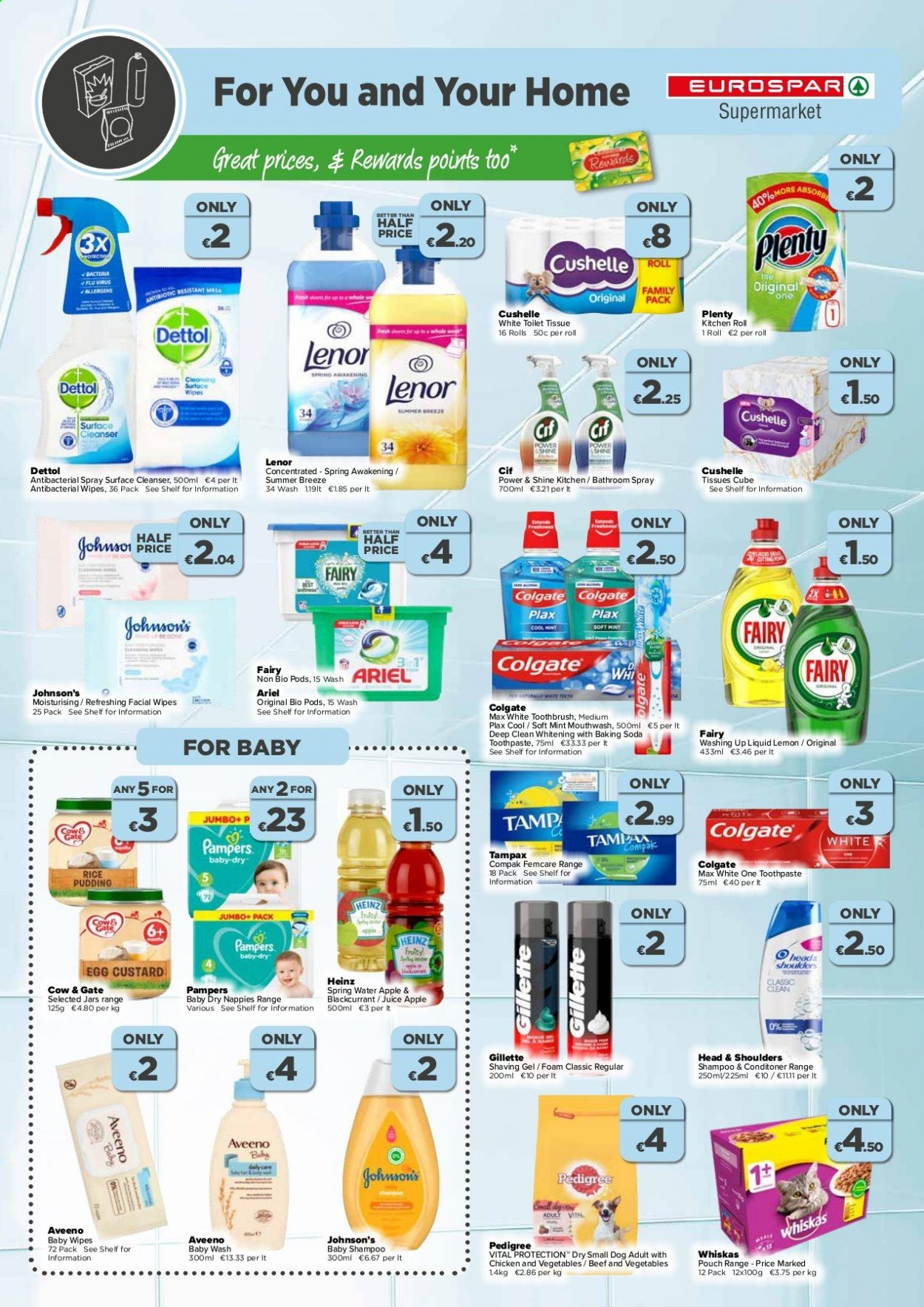 EUROSPAR offer  - 9.7.2020 - 29.7.2020 - Sales products - apple, aveeno, baking soda, bathroom, beef meat, cleanser, custard, colgate, foam, gillette, mint, rice, shampoo, shelf, spray, spring water, surface, tampax, toilet, toothbrush, wipes, head & shoulders, heinz, jar, kitchen, pudding, chicken, pampers, soda, juice, vegetable, toothpaste, baby wipes, whiskas, dettol, ariel, family pack, antibacterial spray, cool. Page 6.