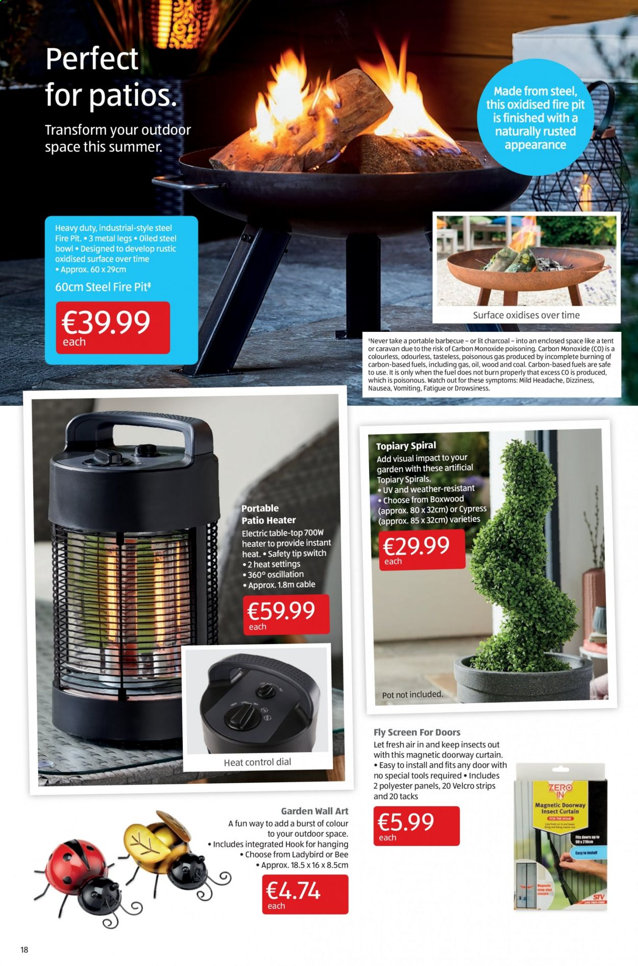 Aldi offer  - 16.7.2020 - 19.7.2020 - Sales products - bowl, curtains, door, fuel, safe, surface, switch, tent, watch, hook, pot, charcoal, patio, heater, control. Page 18.