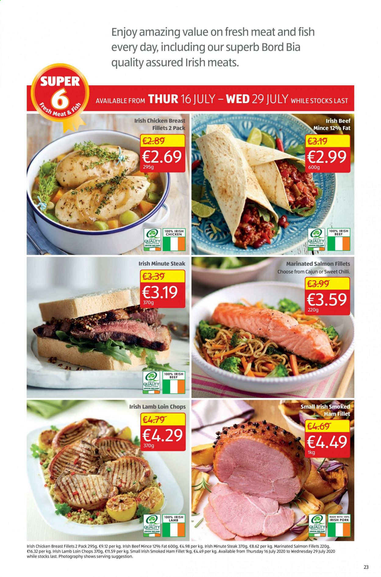 Aldi offer  - 16.7.2020 - 19.7.2020 - Sales products - beef meat, lamb loin, lamb meat, salmon, ham, chicken, chicken breast, steak, smoked ham, sweet. Page 23.