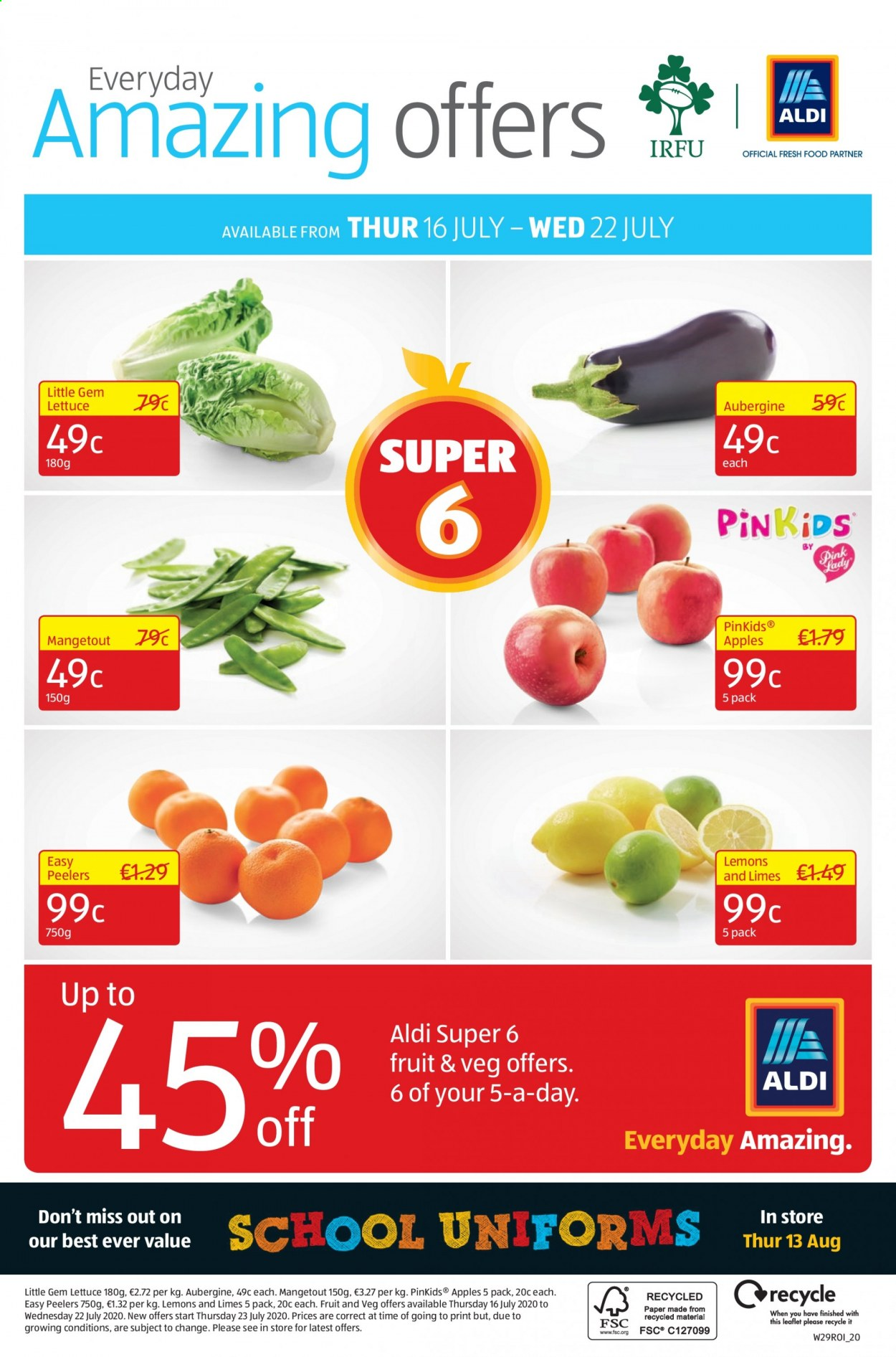 Aldi offer  - 16.7.2020 - 19.7.2020 - Sales products - apple, lemons, limes, lettuce. Page 24.