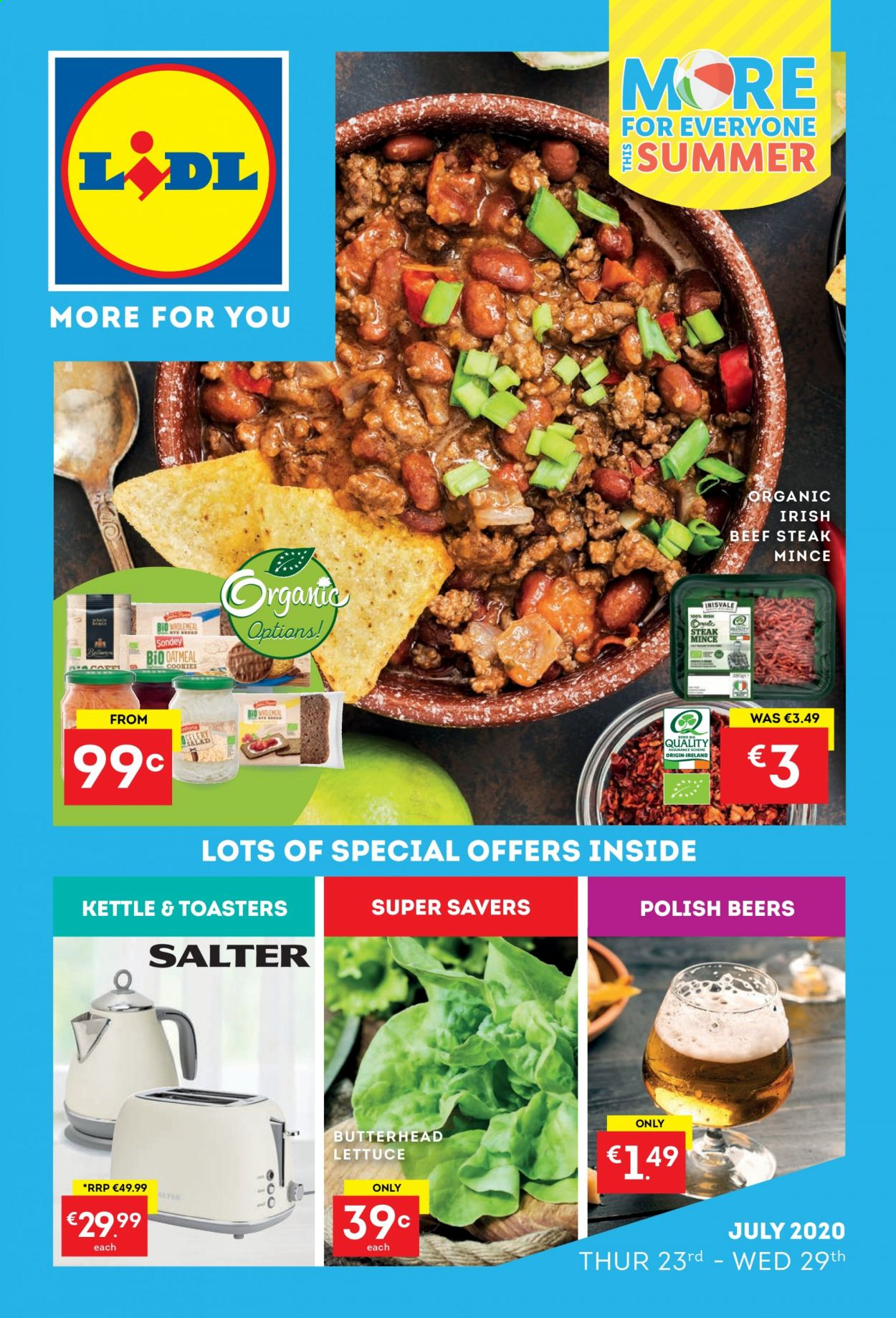 Lidl offer  - 23.7.2020 - 29.7.2020 - Sales products - polish, oatmeal, organic, lettuce, steak, salad, kettle. Page 1.