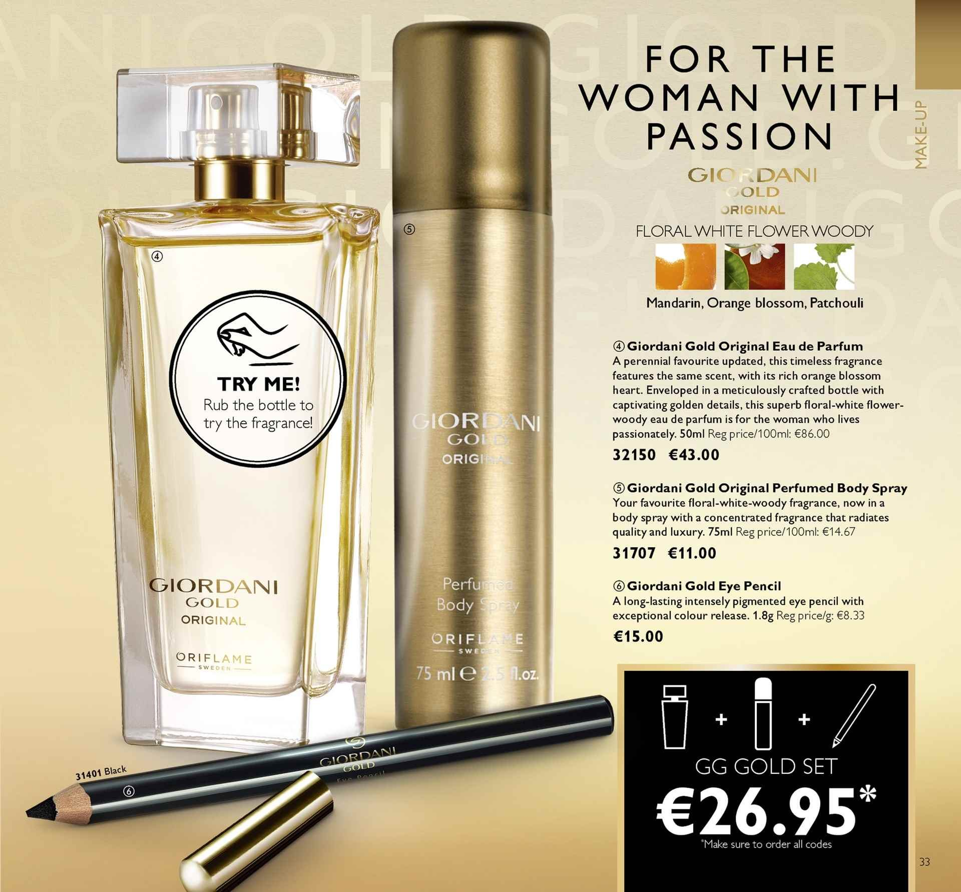 Oriflame offer  - 4.5.2018 - 24.5.2018 - Sales products - body spray, Giordani Gold, eau de parfum, fragrance, orange. Page 33.