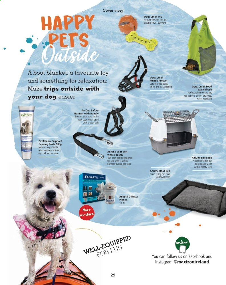 Maxi Zoo offer  - Sales products - bag, bed, belt, blanket, box, diffuser, door, repellent, handles, pet, toys, pet beds. Page 29.