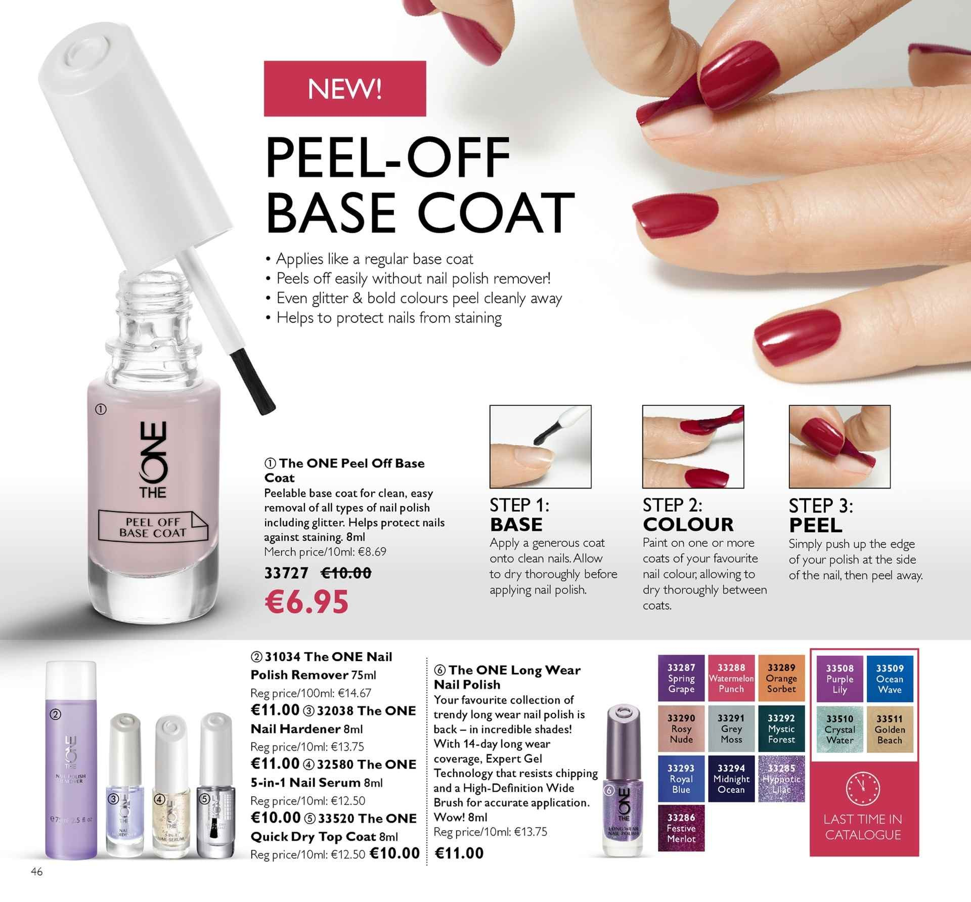 Oriflame offer  - 4.5.2018 - 24.5.2018 - Sales products - serum, base coat, quick dry, nail polish remover, orange, Merlot. Page 46.