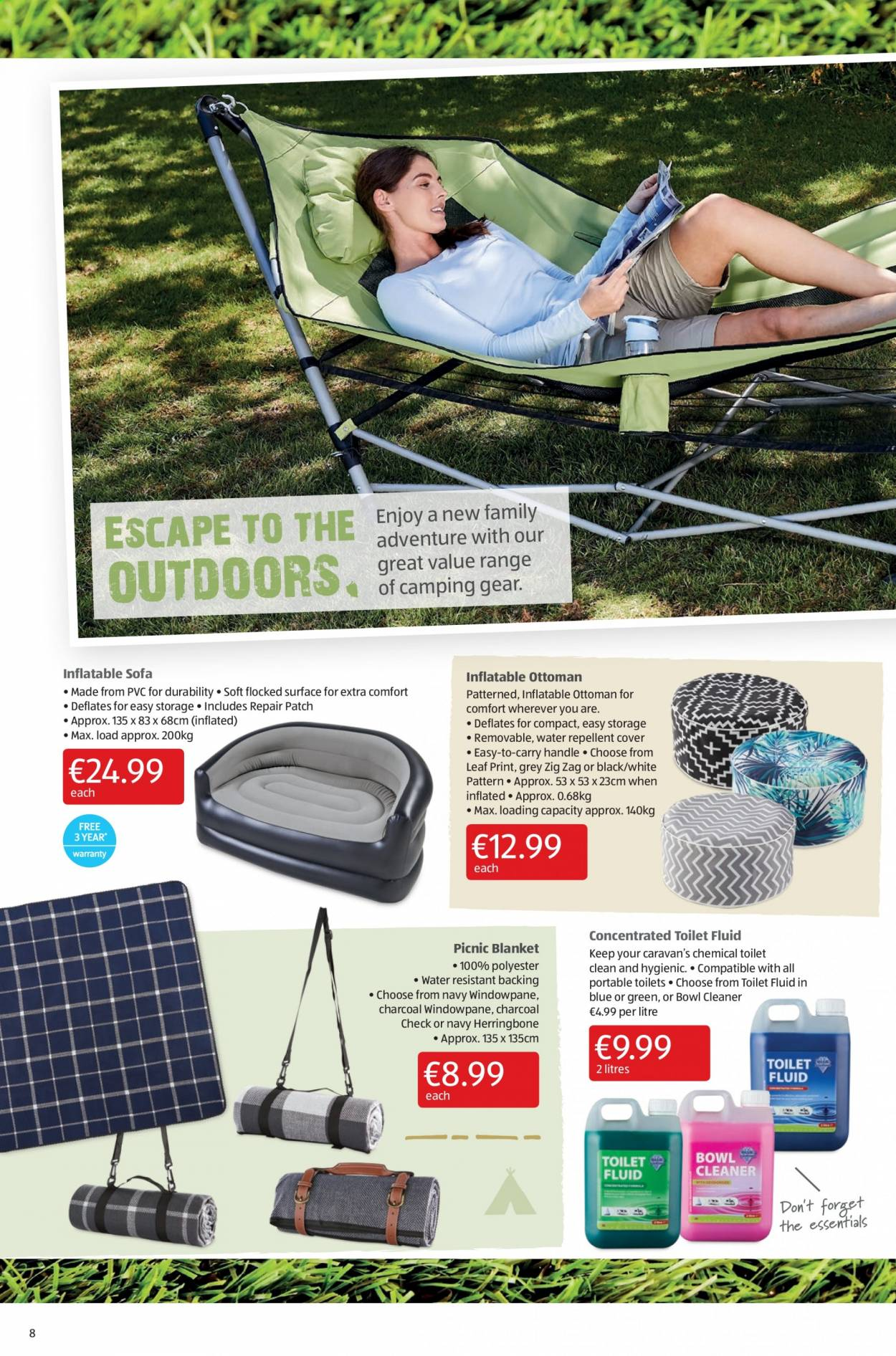 Aldi offer  - 23.7.2020 - 26.7.2020 - Sales products - blanket, cover, fluid, repair, repellent, sofa, storage, surface, toilet, handles, charcoal, ottoman, picnic blanket, water resistant, gear, cleaner. Page 8.