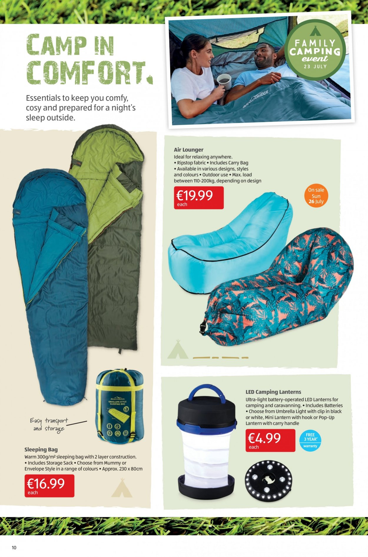Aldi offer  - 23.7.2020 - 26.7.2020 - Sales products - bag, battery, sleeping bag, storage, handles, hook, lantern, envelope, carry bag. Page 10.