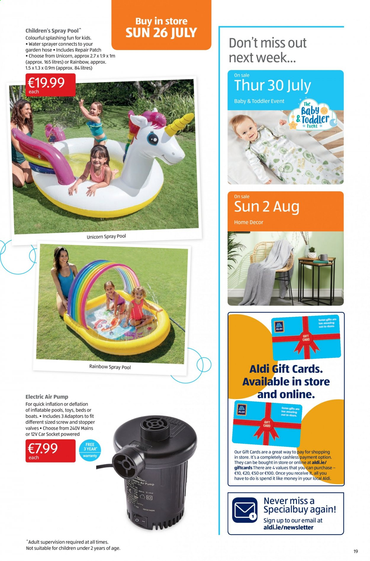 Aldi offer  - 23.7.2020 - 26.7.2020 - Sales products - repair, spray, quick, toys, sprayer, car, pool, pump, hose. Page 19.