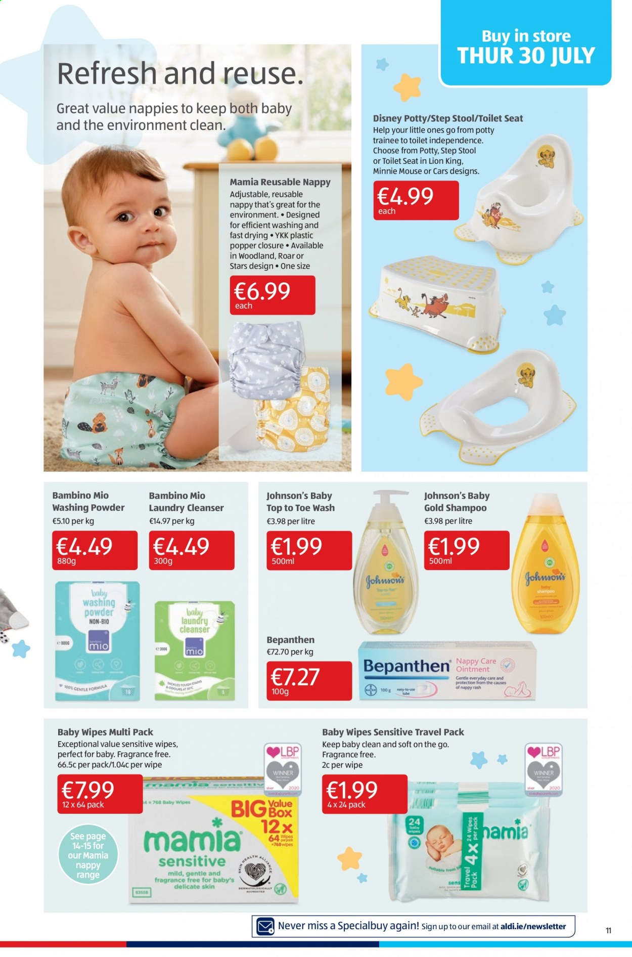 Aldi offer  - 30.7.2020 - 2.8.2020 - Sales products - cleanser, disney, fragrance, mickey, minnie mouse, mouse, shampoo, step stool, stool, toilet, wipes, popper, powder, baby wipes, minnie, washing powder, diapers, nappies. Page 11.