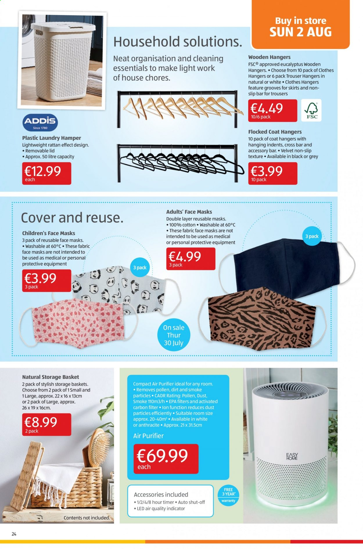 Aldi offer  - 30.7.2020 - 2.8.2020 - Sales products - accessories, basket, coat, cotton, cover, lid, storage, timer, trousers, air purifier, bar, hangers, 100% cotton, storage basket, hamper, clothes. Page 24.