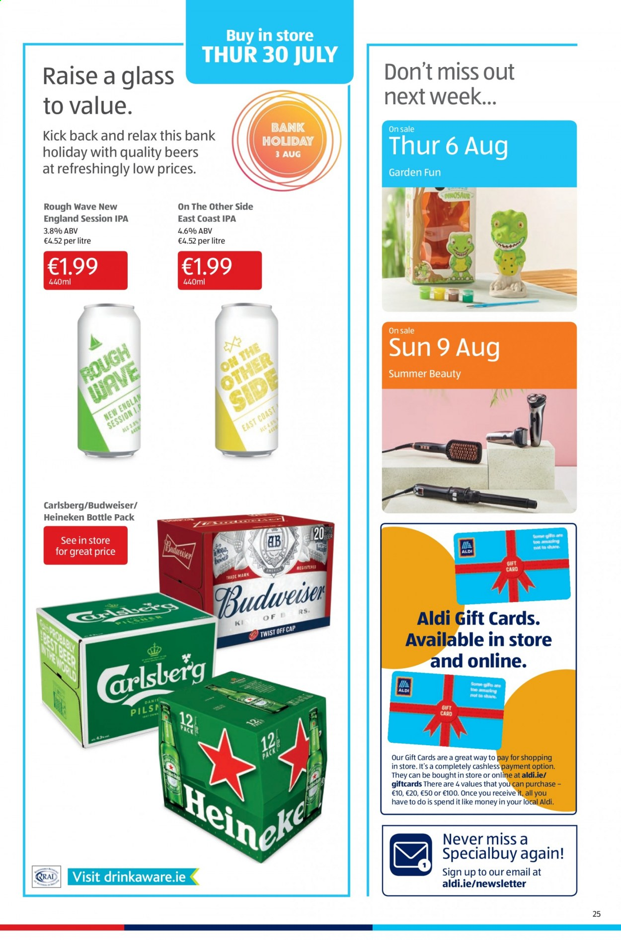 Aldi offer  - 30.7.2020 - 2.8.2020 - Sales products - bottle, budweiser, heineken. Page 25.