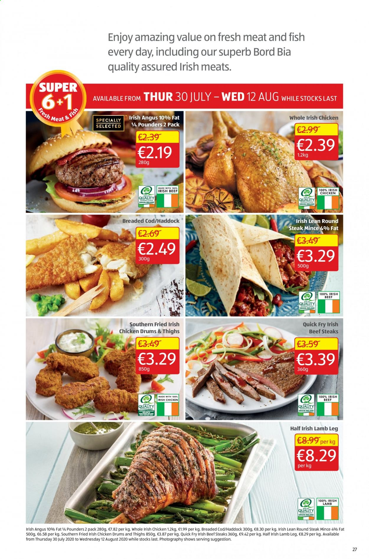 Aldi offer  - 30.7.2020 - 2.8.2020 - Sales products - beef meat, beef steak, cod, lamb meat, haddock, quick, chicken, steak, meat, fish, lamb. Page 27.