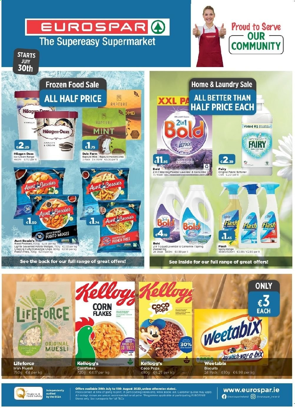 EUROSPAR offer  - 30.7.2020 - 19.8.2020 - Sales products - biscuits, corn, ice cream, potato wedges, potatoes, powder, chips, corn flakes, coco pops, flakes, washing powder, Bleach. Page 1.