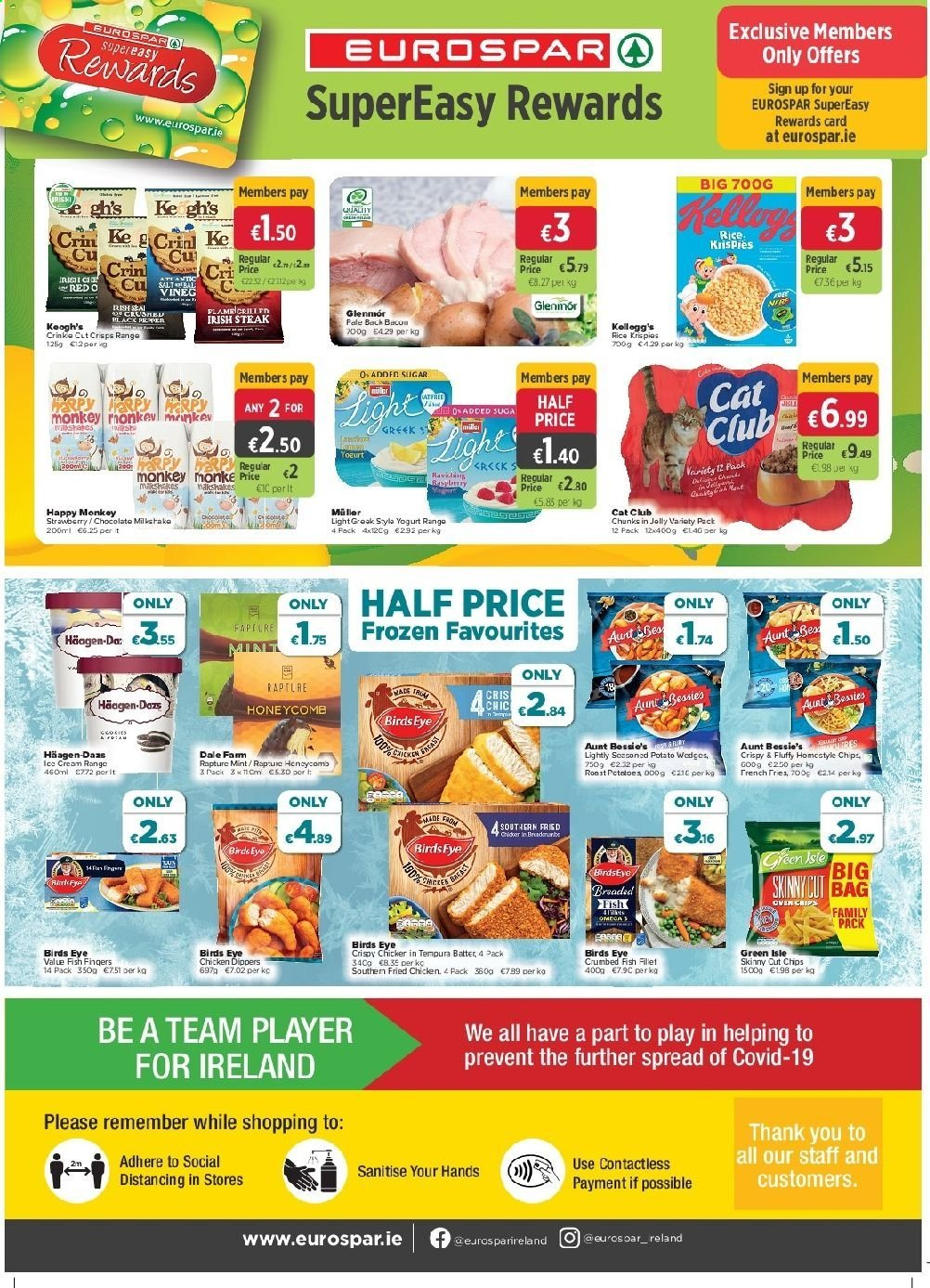 EUROSPAR offer  - 30.7.2020 - 19.8.2020 - Sales products - bag, cream, mint, rice, sugar, yogurt, chicken, chips, chocolate, steak, player, monkey, card, strawberry, family pack, jelly, fish, fried chicken, roast. Page 8.