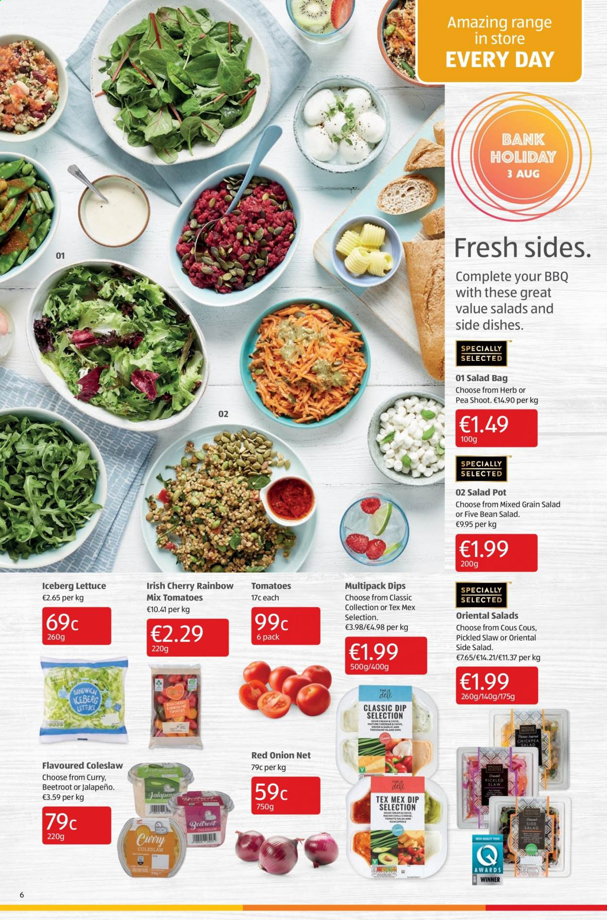 Aldi offer  - 6.8.2020 - 9.8.2020 - Sales products - bag, coleslaw, tomatoes, pot, onion, lettuce, sandwich, salsa, salad, herb, curry, guacamole, jalapeno, tomato, barbecue, herbs, beetroot. Page 6.