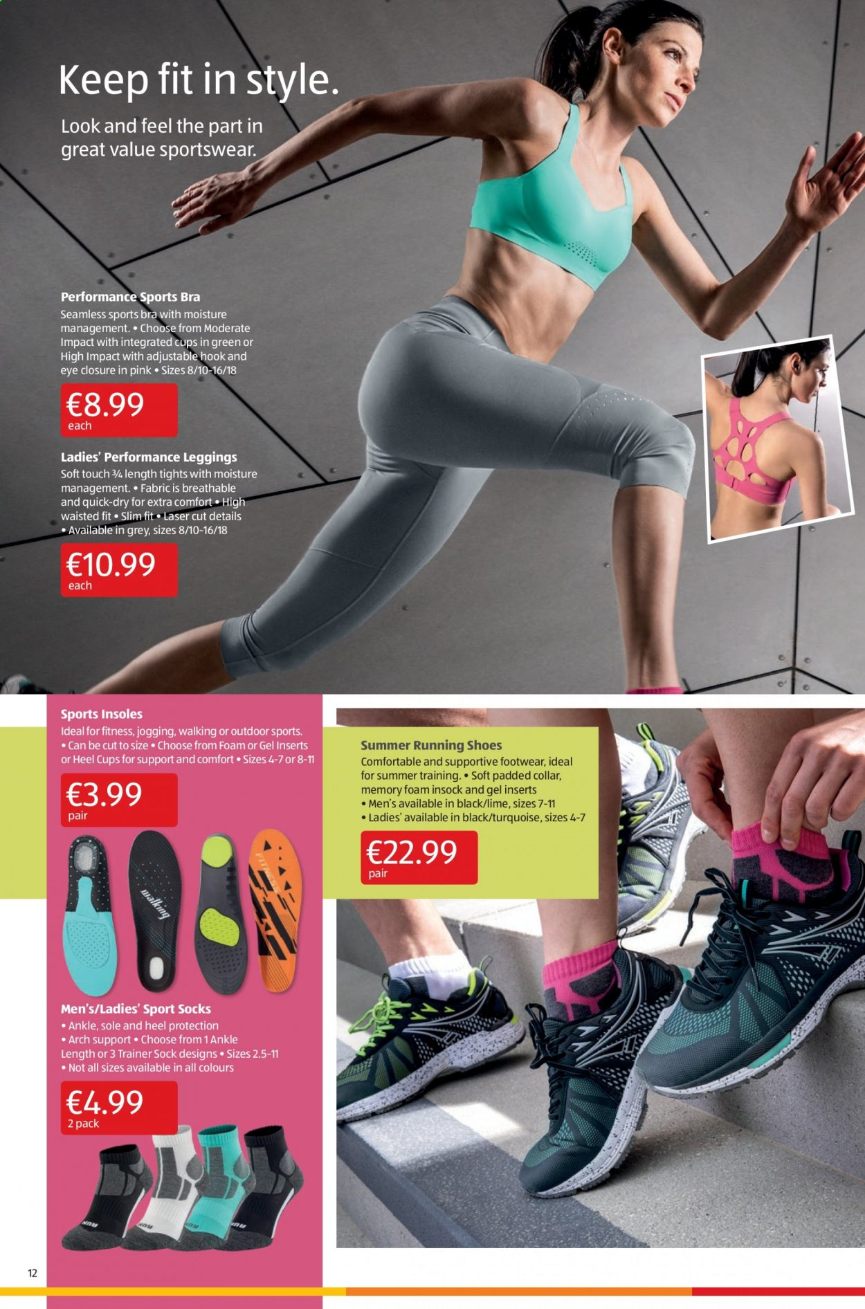 Aldi offer  - 6.8.2020 - 9.8.2020 - Sales products - bra, foam, leggings, memory foam, moisture, running shoes, shoes, socks, sole, tights, hook, quick, footwear. Page 12.