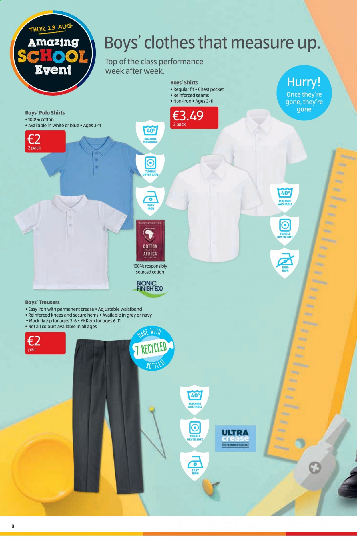 Aldi offer  - 13.8.2020 - 16.8.2020 - Sales products - cotton, dryer, safe, shirt, trousers, iron, polo, tumble dryer, 100% cotton, clothes, machine. Page 8.