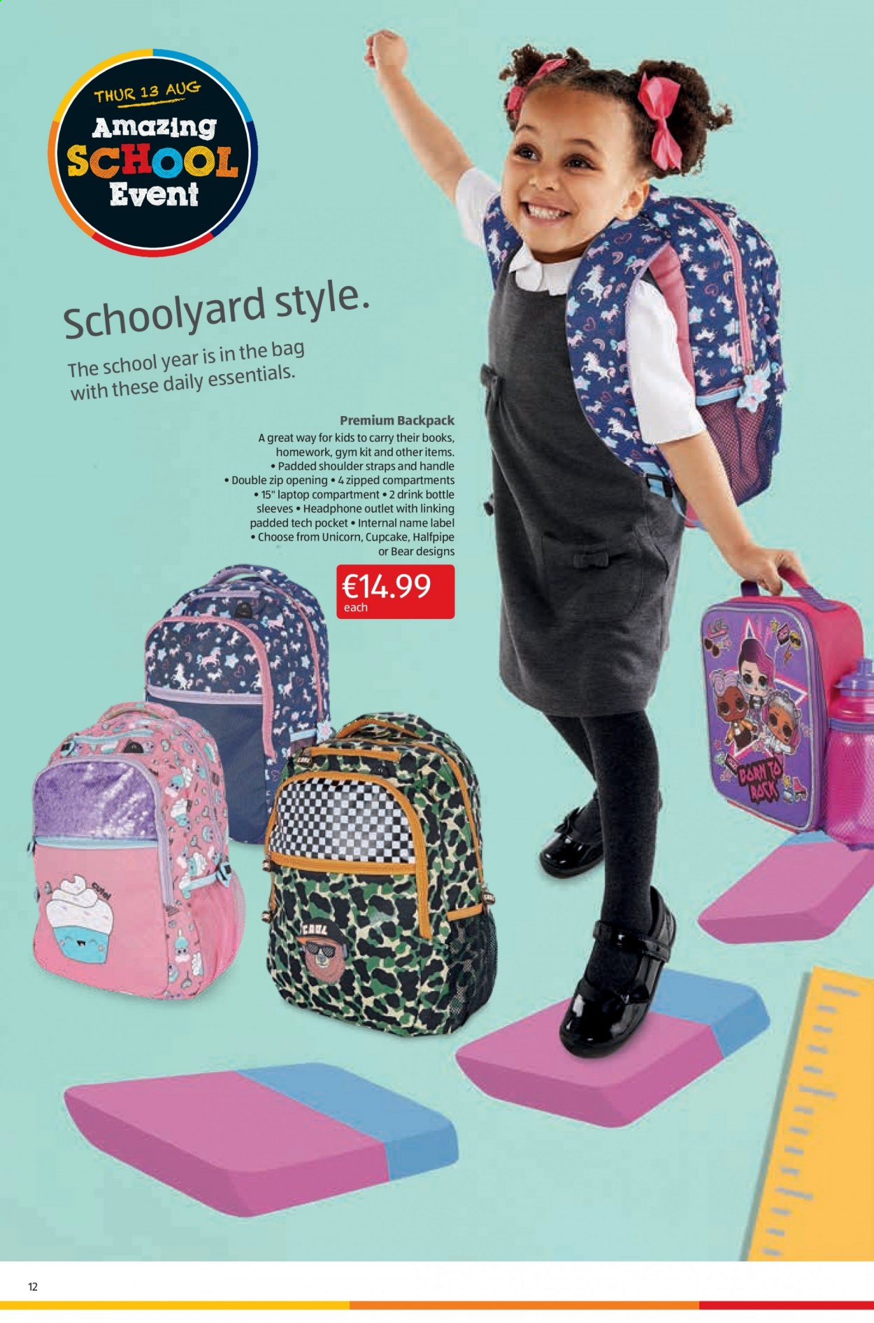 Aldi offer  - 13.8.2020 - 16.8.2020 - Sales products - backpack, bag, cupcake, cupcakes, laptop, handles, headphone, gym, drink bottle. Page 12.