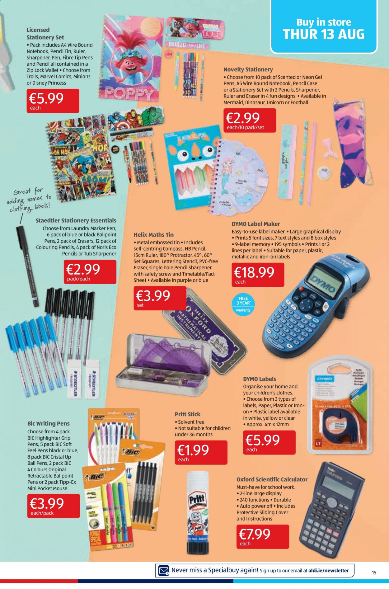 Aldi offer  - 13.8.2020 - 16.8.2020 - Sales products - bic, box, case, cover, disney, mouse, sharpener, sheet, stick, wallet, iron, notebook, paper, dinosaur, stationery set, pen, marker, eraser, calculator, pencils, ball, tub, marvel, princess, clothes. Page 15.