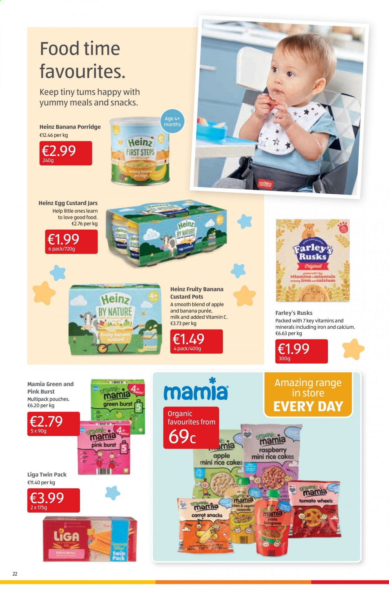 Aldi offer  - 13.8.2020 - 16.8.2020 - Sales products - calcium, custard, eggs, milk, rice, vitamin c, heinz, iron, jar, organic, snack, pasta, porridge, rusks, raspberry, tomato. Page 22.