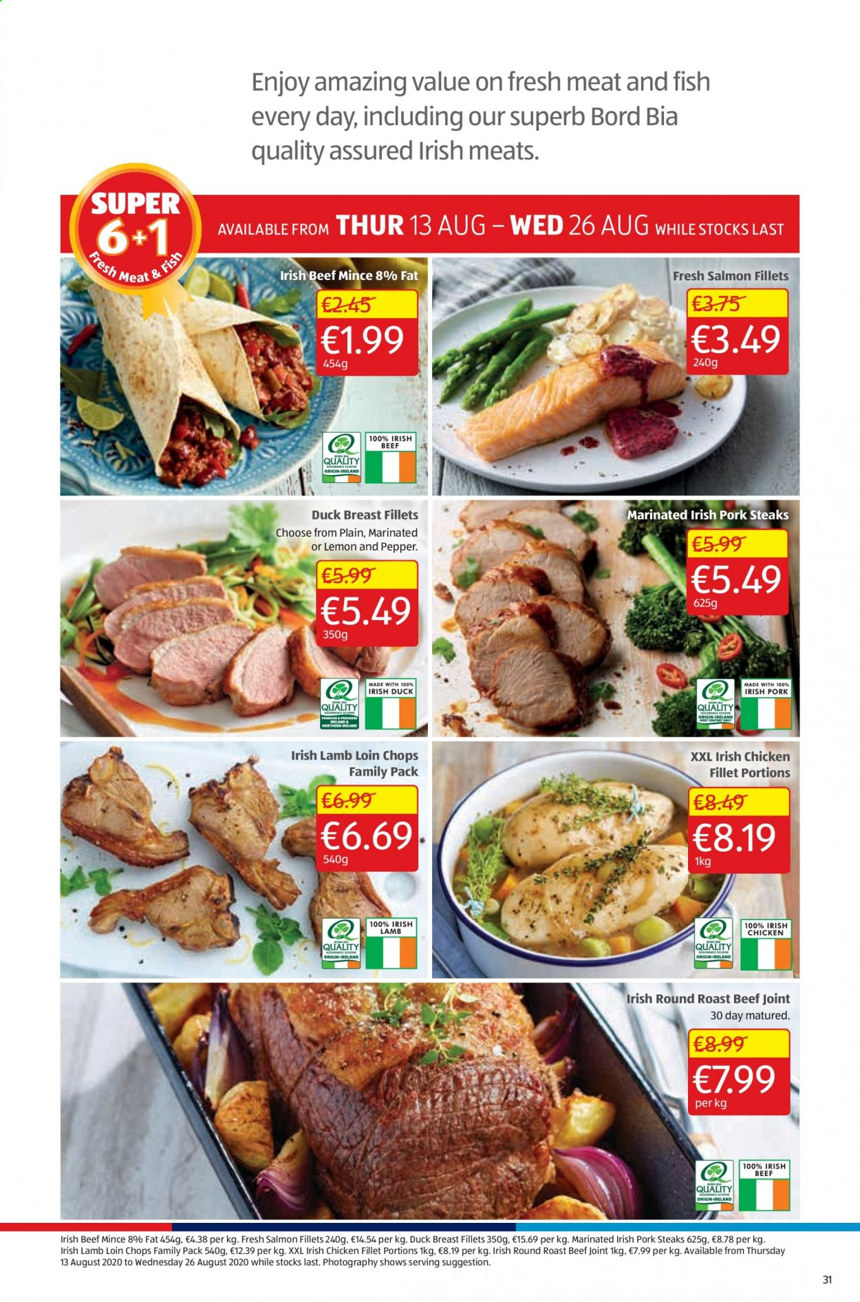 Aldi offer  - 13.8.2020 - 16.8.2020 - Sales products - beef meat, duck, lamb loin, lamb meat, salmon, pork meat, chicken, pepper, family pack, meat, fish, lamb, roast, lemon. Page 31.