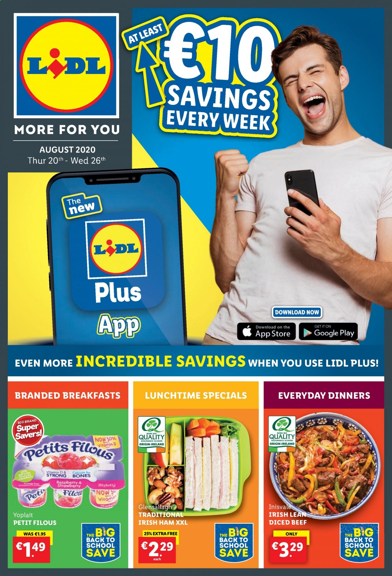 Lidl offer  - 20.8.2020 - 26.8.2020 - Sales products - beef meat, calcium, google, ham, strawberry, raspberry, bones. Page 1.