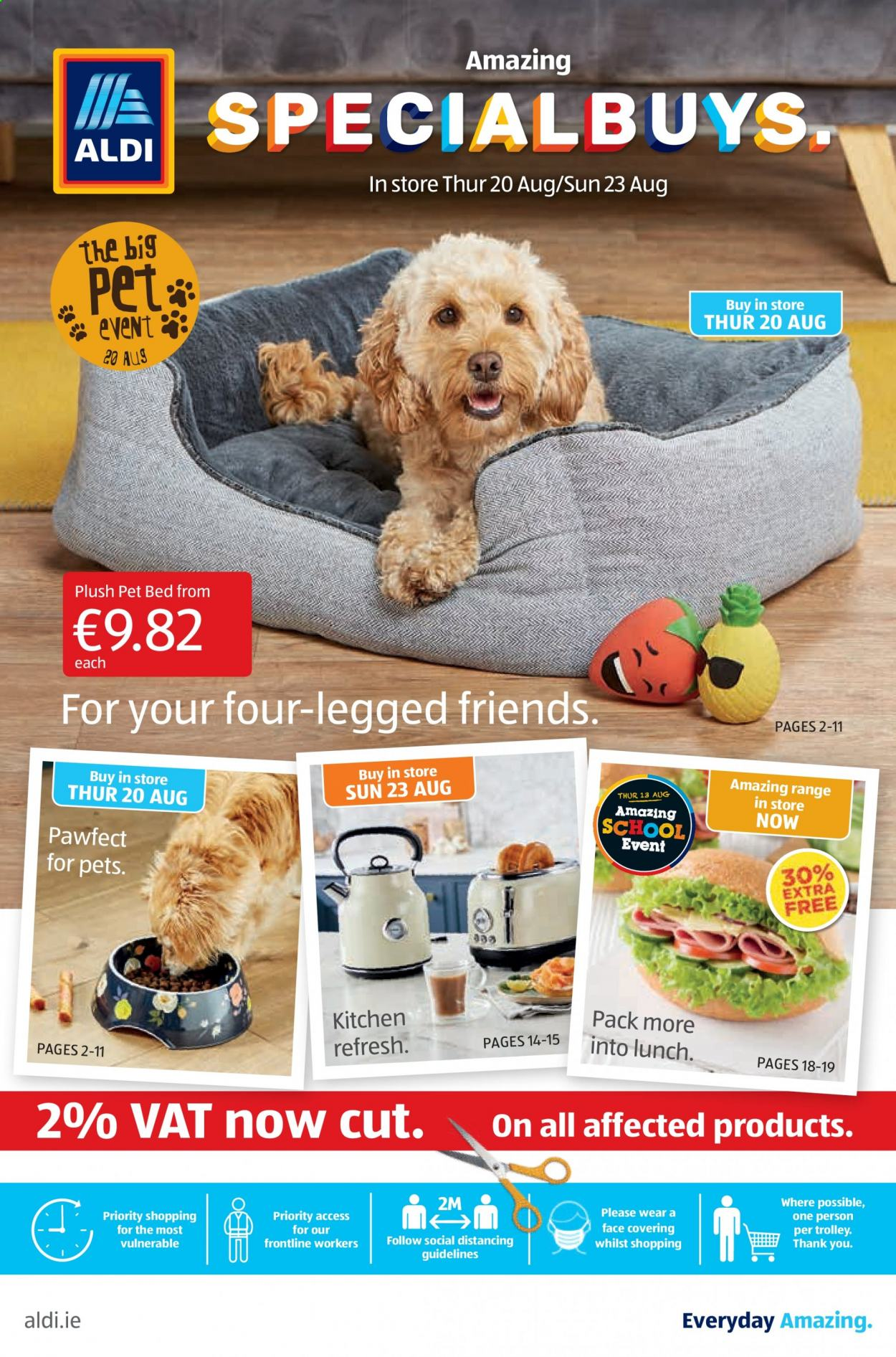 Aldi offer  - 20.8.2020 - 23.8.2020 - Sales products - bed, kitchen, pet, trolley, pet beds. Page 1.