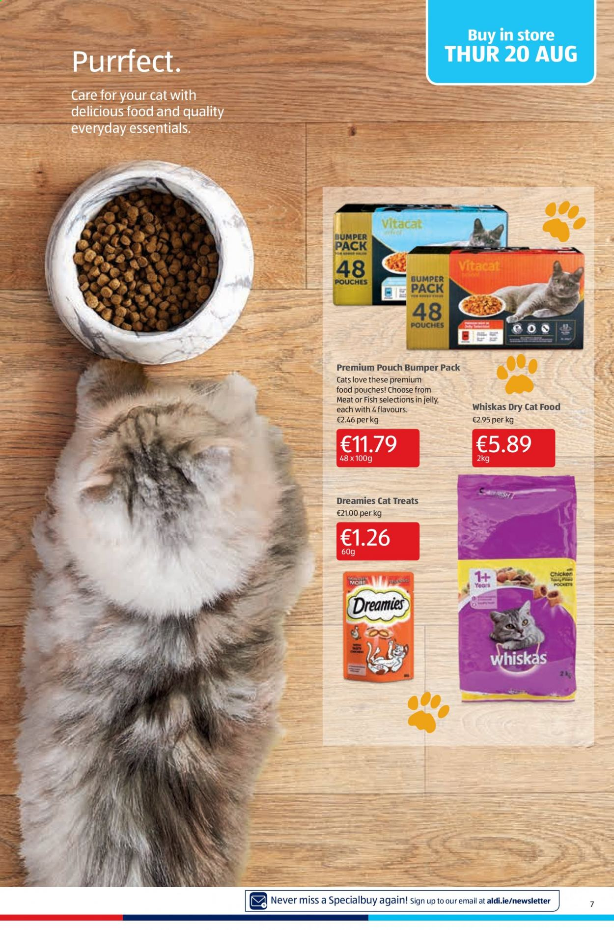 Aldi offer  - 20.8.2020 - 23.8.2020 - Sales products - animal food, cat food, chicken, whiskas, jelly, treats, meat, fish, essentials. Page 7.