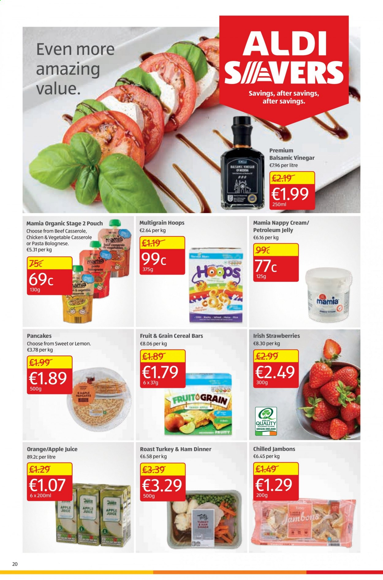 Aldi offer  - 20.8.2020 - 23.8.2020 - Sales products - apple juice, balsamic vinegar, beef meat, cereals, cream, strawberries, turkey, vinegar, ham, chicken, pancakes, organic, juice, vegetable, cereal, pasta, casserole, sweet, orange, cereal bars, petroleum jelly, fruit, jelly, roast, lemon. Page 20.