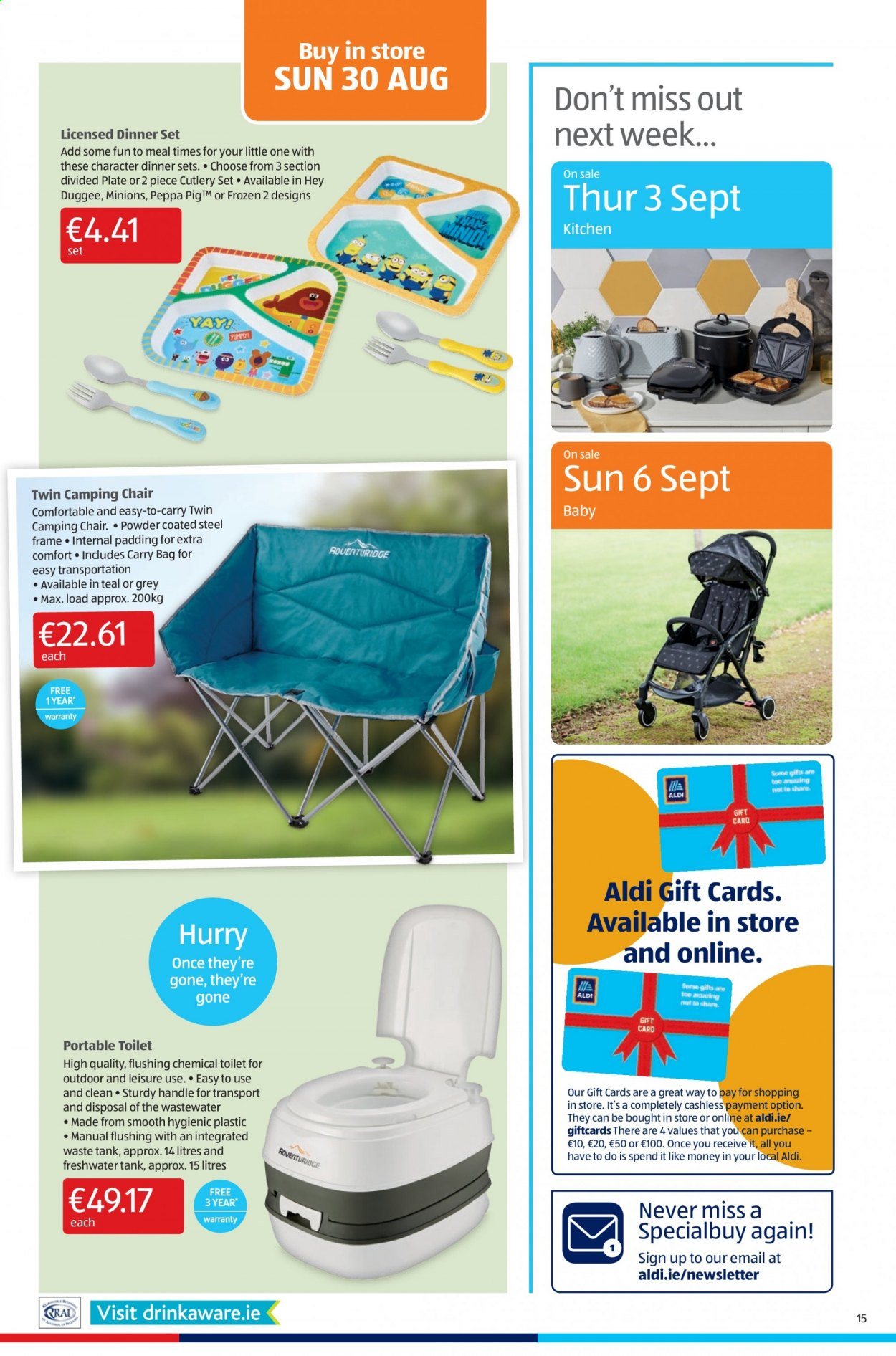 Aldi offer  - 27.8.2020 - 30.8.2020 - Sales products - bag, dinnerware set, frame, frozen, leisure, toilet, handles, chair, kitchen, plate, powder, cutlery set, dinner set, camping chair, steel frame, frozen 2, carry bag, minions. Page 15.