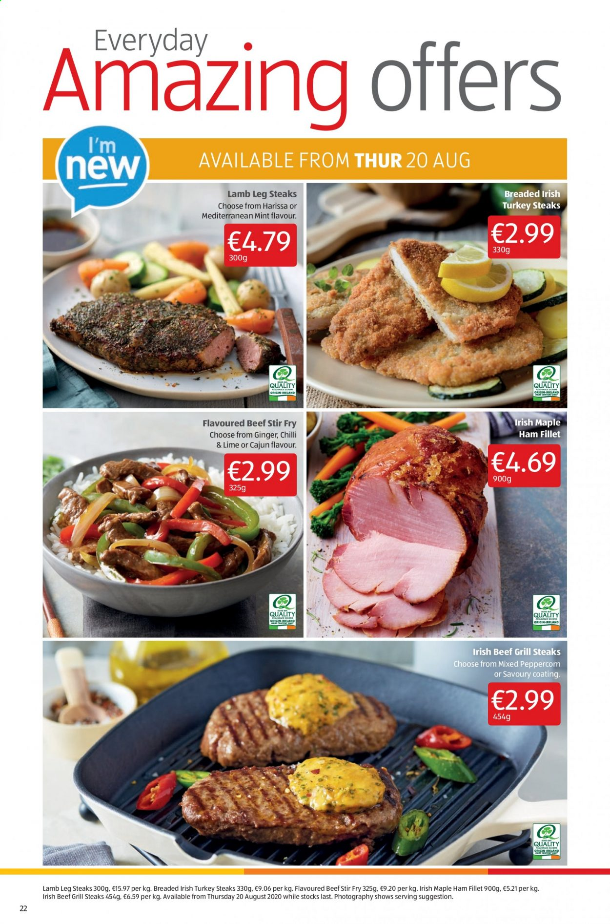 Aldi offer  - 27.8.2020 - 30.8.2020 - Sales products - beef meat, ginger, grill, lamb meat, mint, turkey, ham, lamb. Page 22.