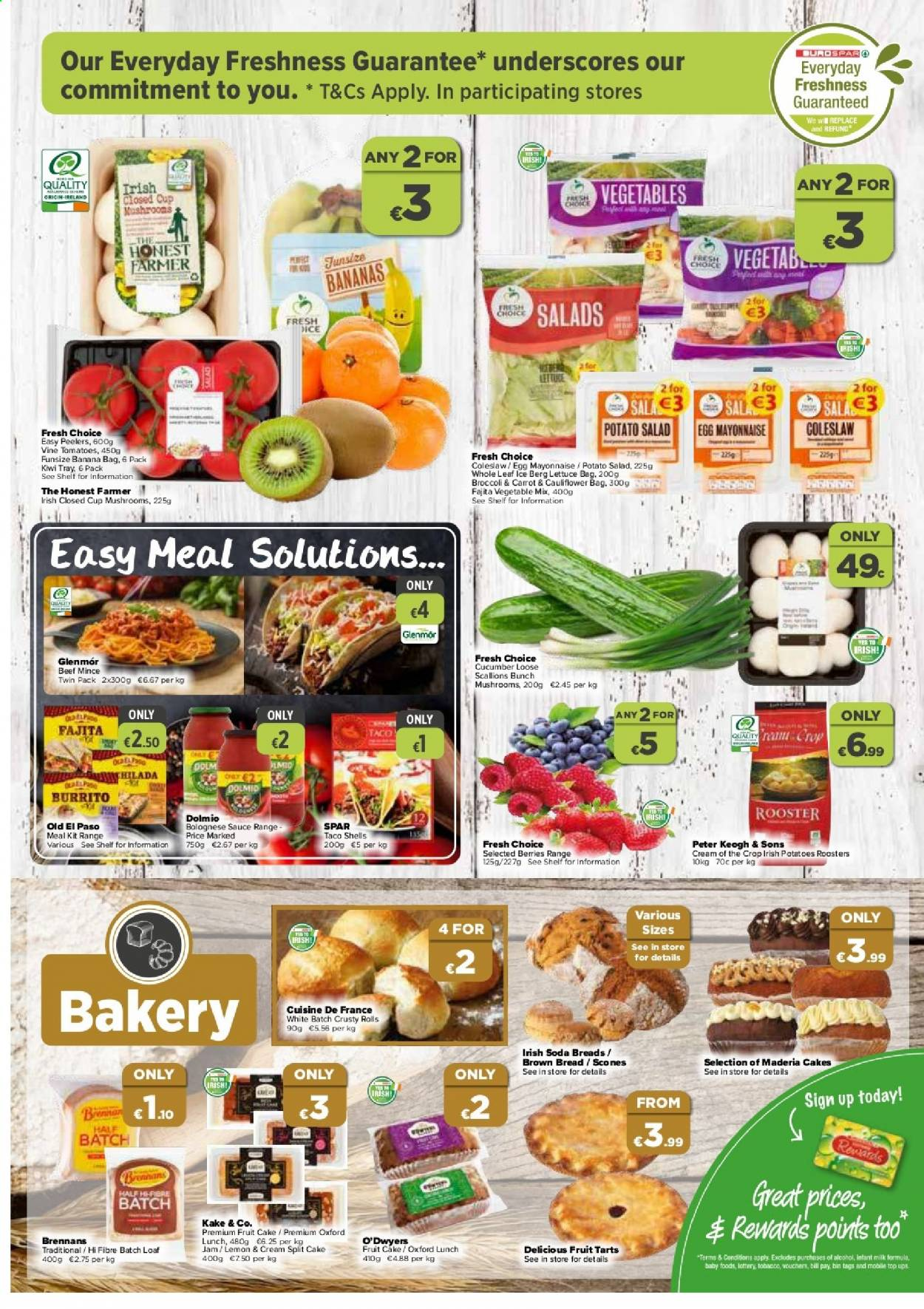 EUROSPAR offer  - 20.8.2020 - 9.9.2020 - Sales products - bag, bananas, beef meat, bin, bread, broccoli, cauliflower, cucumbers, cup, eggs, coleslaw, kiwi, mayonnaise, milk, mushrooms, scallions, shelf, tomatoes, tray, jam, potatoes, lettuce, soda, cake, vegetable, taco shells, crop, lee, salad, sauce, vegetables, fruit, ups, rolls, lemon, tomato. Page 3.