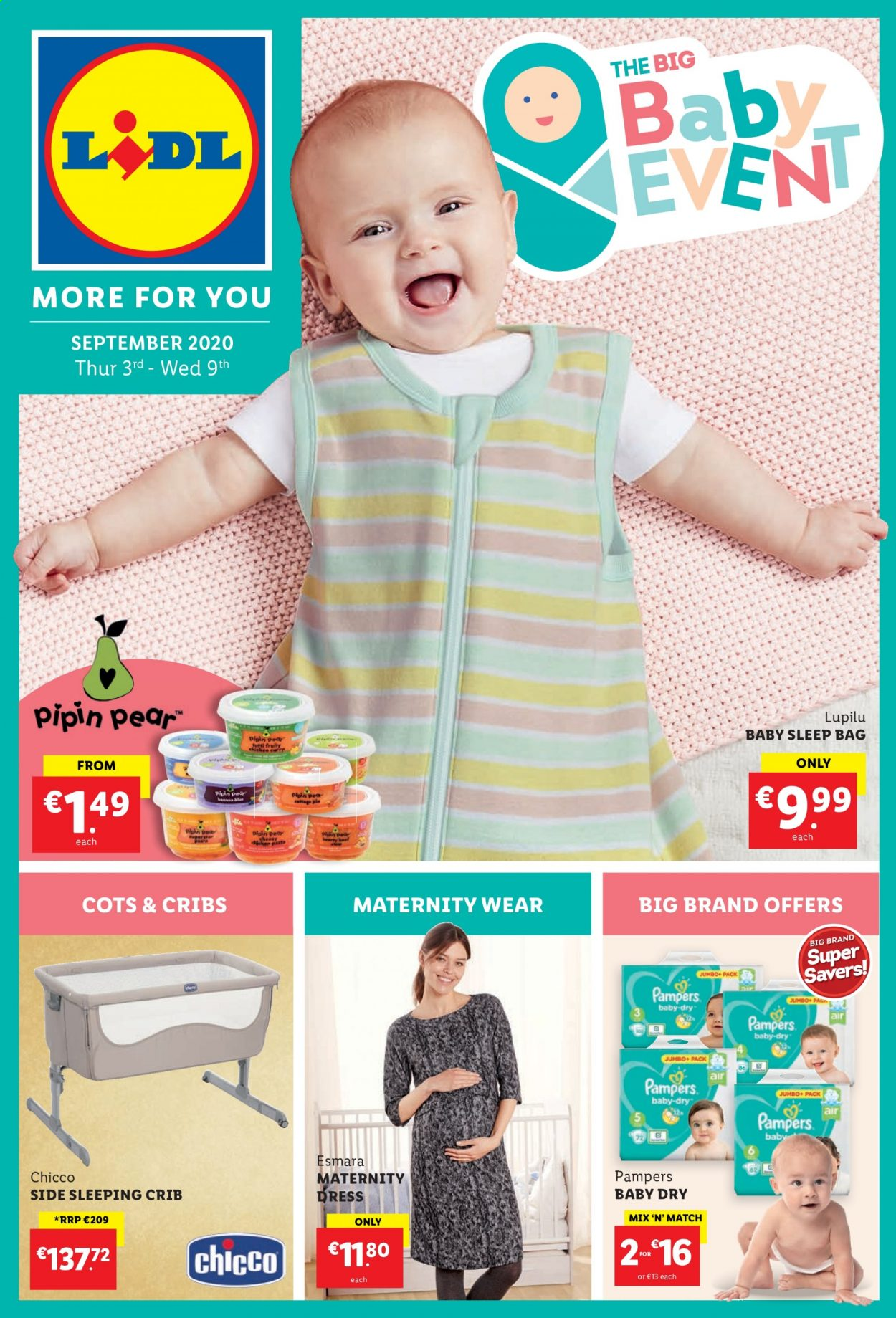 Lidl offer  - 3.9.2020 - 9.9.2020 - Sales products - bag, beef meat, dress, pampers, pears, pasta, esmara. Page 1.