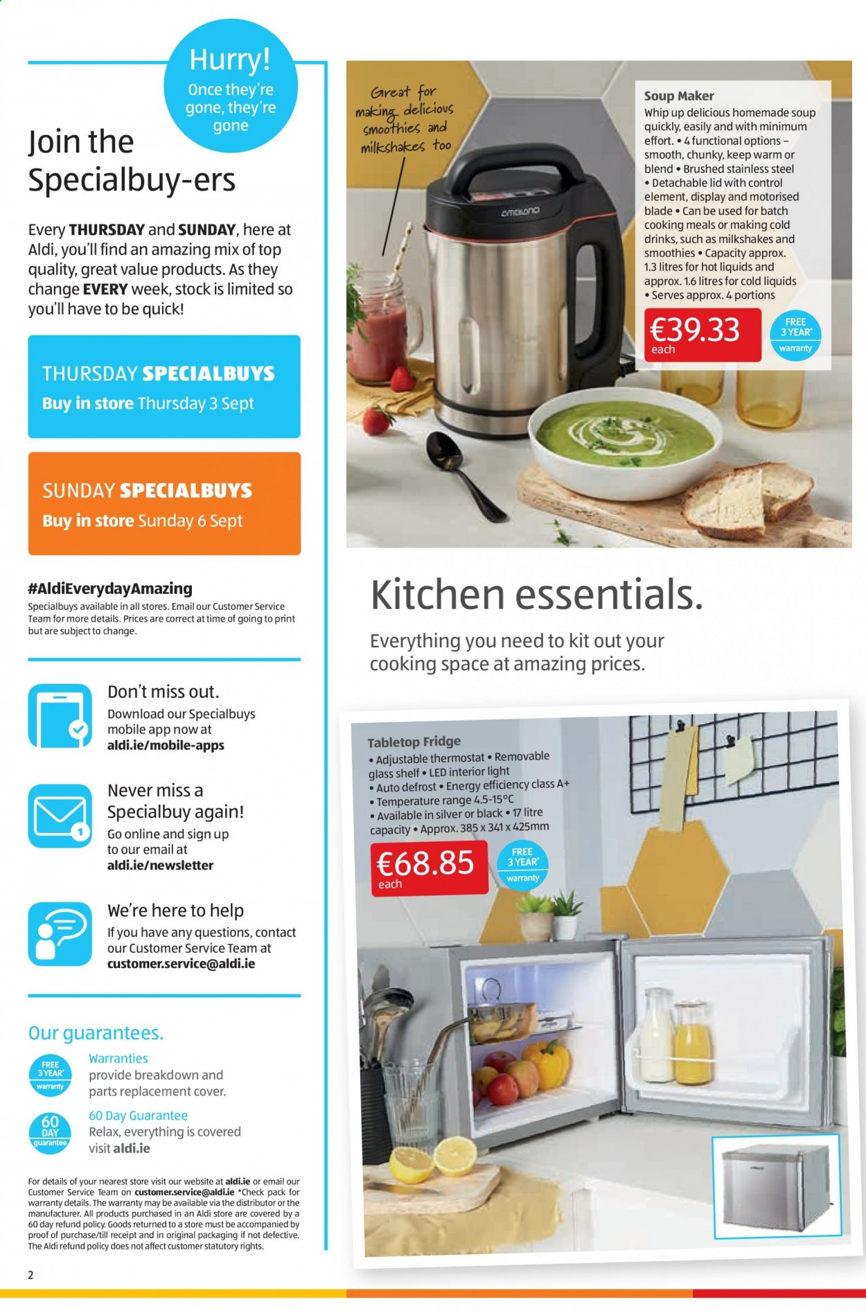 Aldi offer  - 3.9.2020 - 6.9.2020 - Sales products - cover, glass, lid, refrigerator, shelf, stainless, kitchen, quick, soup, drink, control, blade, stainless steel, fridge, essentials, led. Page 2.