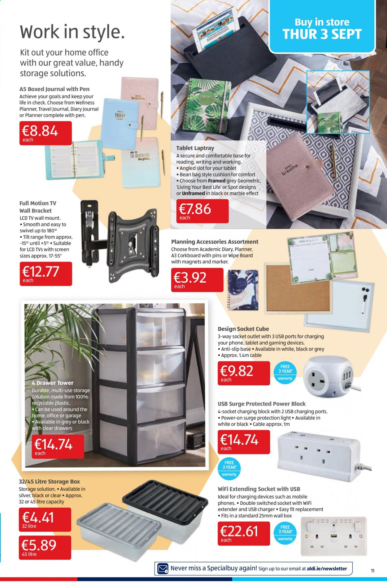 Aldi offer  - 3.9.2020 - 6.9.2020 - Sales products - accessories, bag, cushion, drawer, storage, surge, tablet, usb, wifi, charger, storage box, diary, pen, board, marker, cable, extender. Page 11.