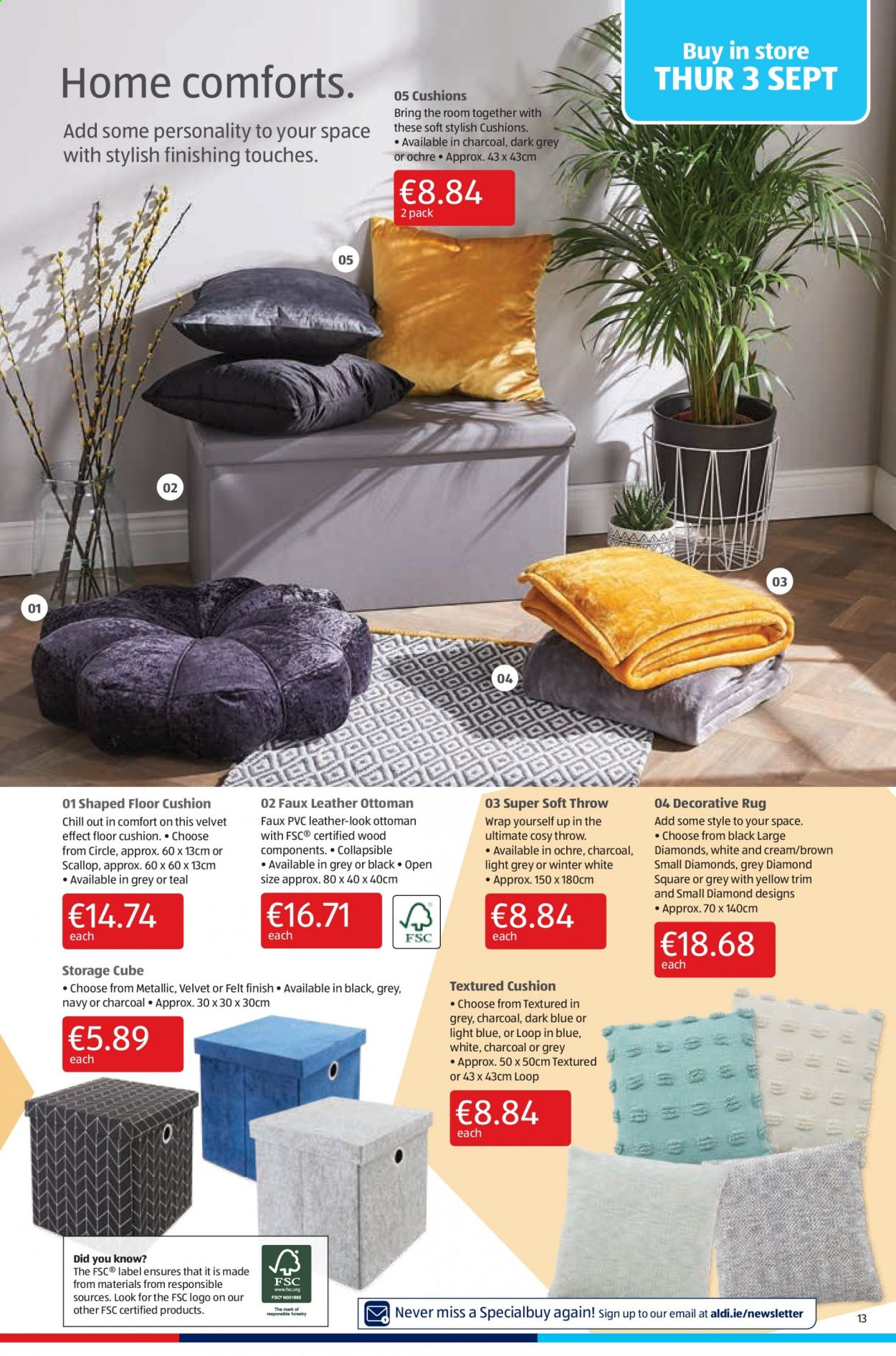 Aldi offer  - 3.9.2020 - 6.9.2020 - Sales products - cushion, rug, scallops, storage, throw, wrap, charcoal, ottoman, cushions. Page 13.