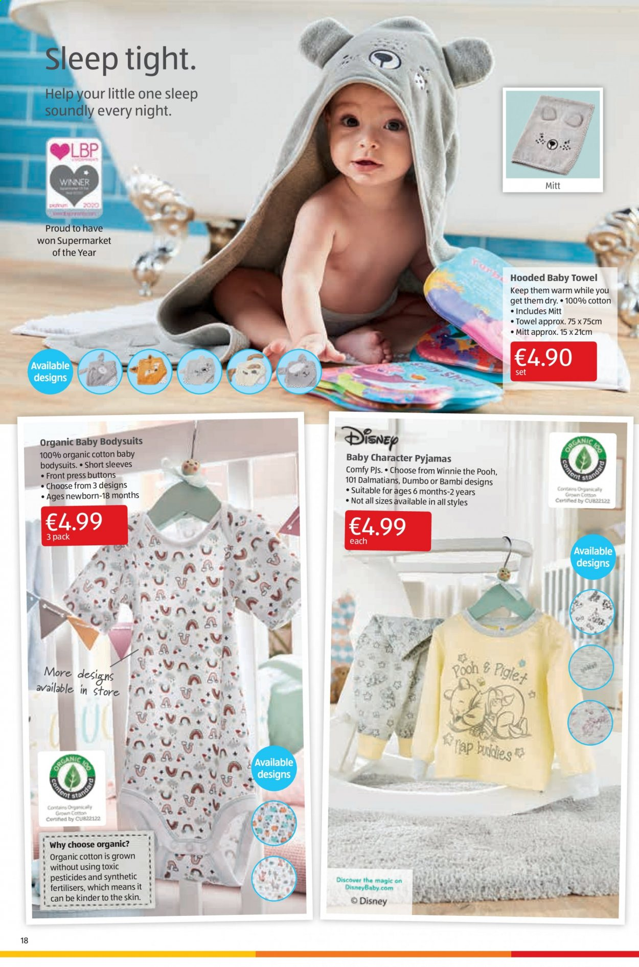 Aldi offer  - 3.9.2020 - 6.9.2020 - Sales products - towel, organic, pyjamas, 100% cotton. Page 18.