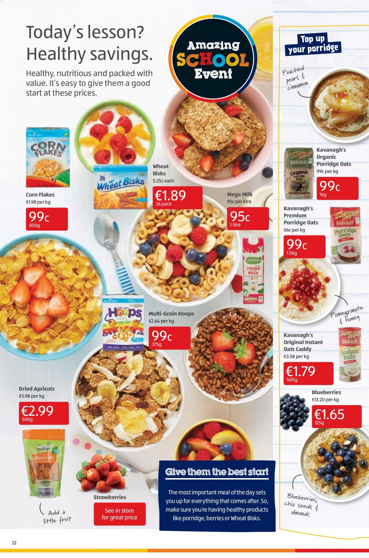 Aldi offer  - 3.9.2020 - 6.9.2020 - Sales products - almonds, apricots, blueberries, corn, milk, strawberries, pears, oats, organic, corn flakes, flakes, porridge, fruit. Page 22.