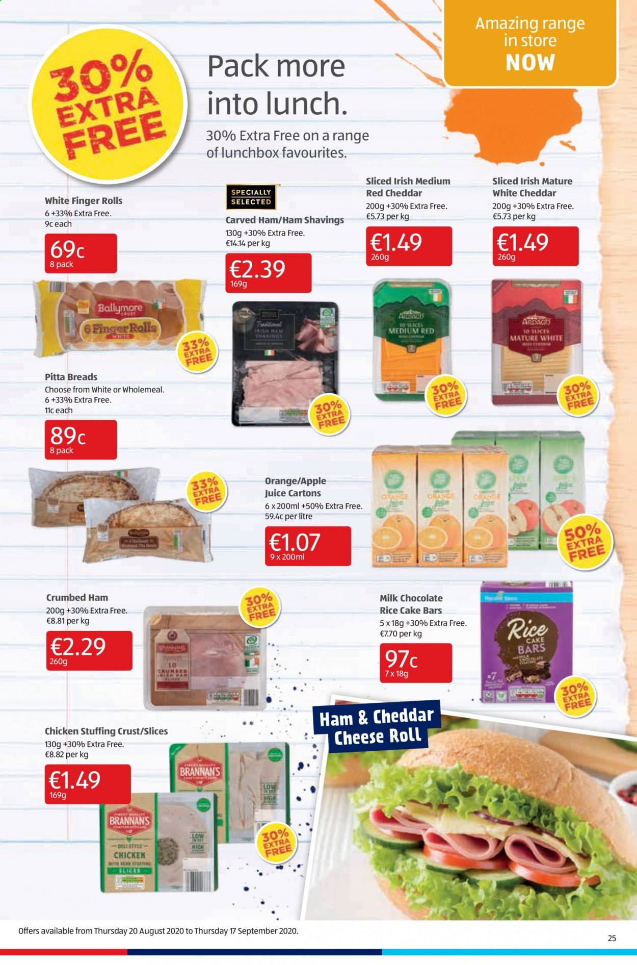 Aldi offer  - 3.9.2020 - 6.9.2020 - Sales products - apple juice, milk chocolate, rice, ham, cheddar, chicken, chocolate, cheese, juice, cake, orange, finger, rolls. Page 25.