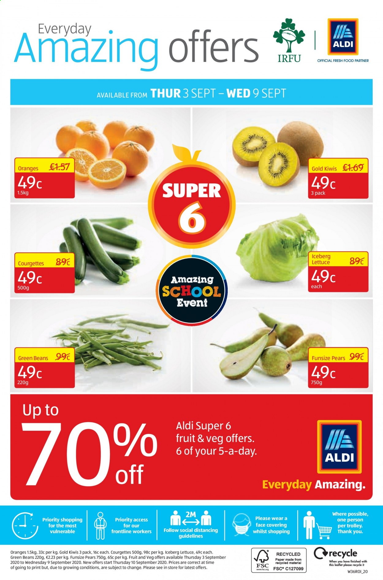 Aldi offer  - 3.9.2020 - 6.9.2020 - Sales products - beans, green beans, plums, pears, oranges, lettuce, trolley, orange, fruit. Page 28.