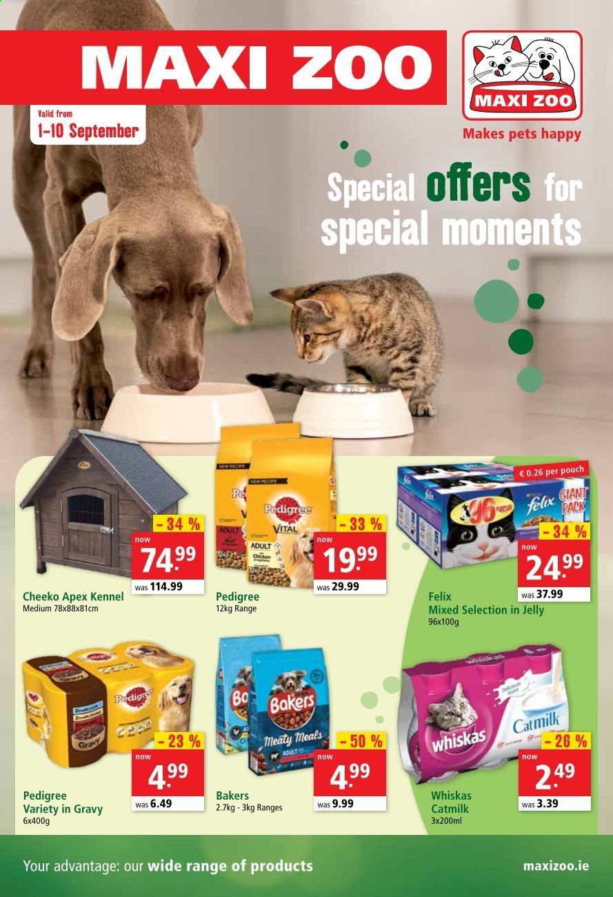 Maxi Zoo offer  - 1.9.2020 - 10.9.2020 - Sales products - pet, Whiskas, jelly. Page 1.