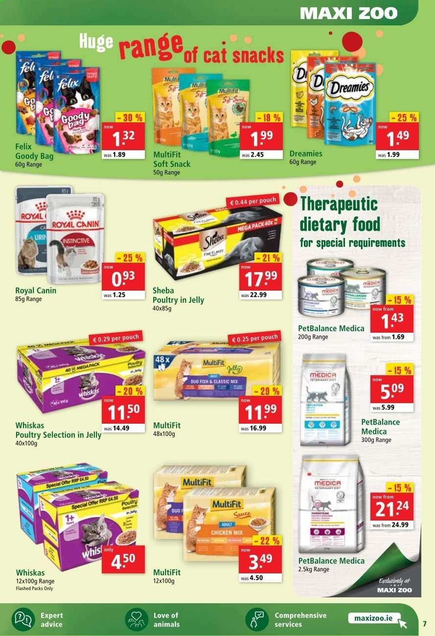 Maxi Zoo offer  - 1.9.2020 - 10.9.2020 - Sales products - bag, royal canin, chicken, snack, Whiskas, sauce, jelly, fish. Page 7.
