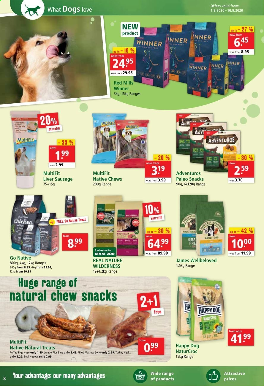 Maxi Zoo offer  - 1.9.2020 - 10.9.2020 - Sales products - beef meat, liver sausage, sausage, turkey, chicken, snack. Page 8.
