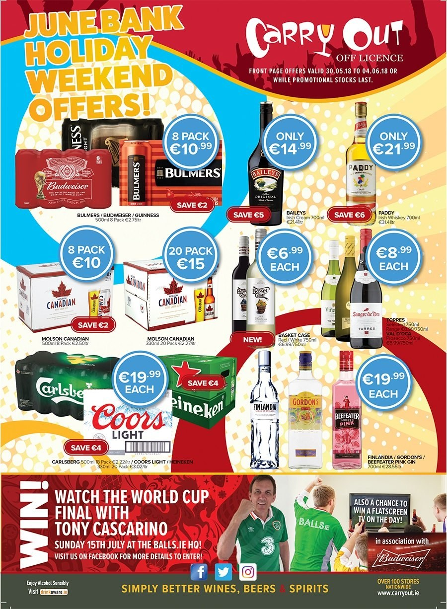 Carry Out offer  - 30.5.2018 - 4.6.2018 - Sales products - budweiser, case, cream, cup, gin, watch, whiskey, baileys. Page 1.