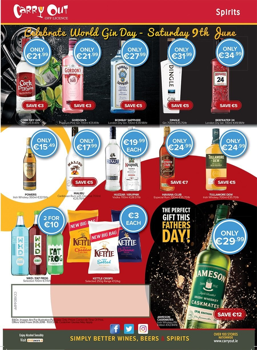Carry Out offer  - 30.5.2018 - 4.6.2018 - Sales products - wine, alcohol, gin, rum, vodka, whiskey, Jameson, Gordon's, Beefeater. Page 4.