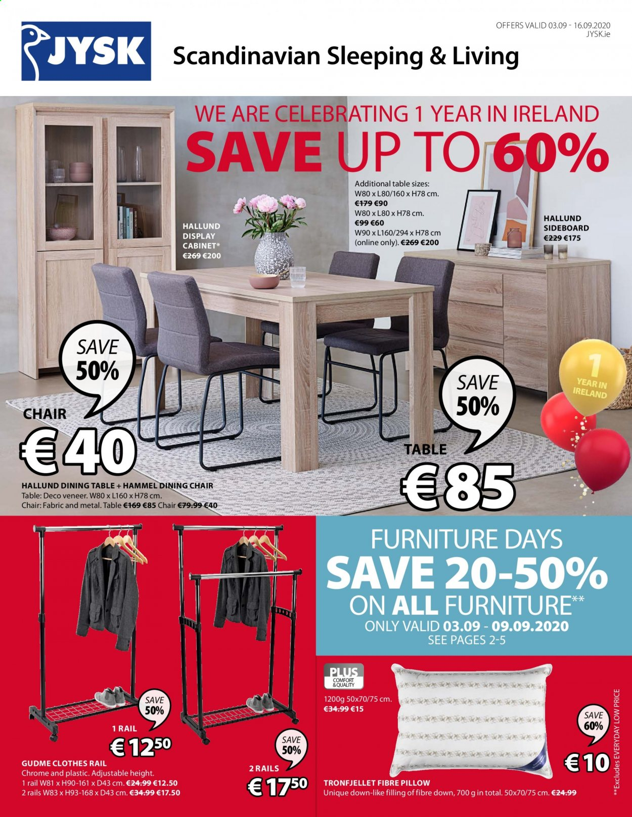 JYSK offer  - 3.9.2020 - 16.9.2020 - Sales products - cabinet, dining table, furniture, rail, sideboard, table, chair, pillow, dining chair, clothes. Page 1.